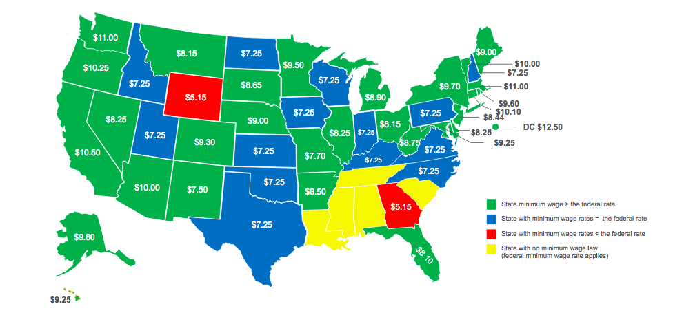 map of wage minimums by state